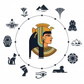 History Landmarks Of Egypt. Cultural Objects And Symbols Of Egyptians. Egyptian Landmark Pyramid Arc poster