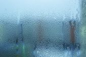 Misted Wet Window Glass As Background Texture poster