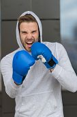 Boxing Concept. Energetic Sportsman In Boxing Gloves. Man Boxer Ready For Boxing. Nothing Like Boxin poster