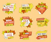 Thanksgiving Offer Sale Tags With Adverts. Exclusive Price 99.90 Promotional Label With Maple Leaves poster