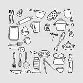 Kitchen Tools Line Icon Set. Set Of Line Icons On White Background. Knife, Juicer, Frying Pan. Cooki poster