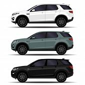 Realistic Suv Cars Set. Side View. City Transport poster