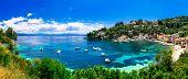 Scenic ionian islands of Greece - beautiful Paxos. view of Loggo poster