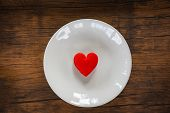 Valentines Dinner Romantic Love Food And Love Cooking Concept Red Heart On White Plate Romantic Tabl poster