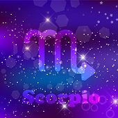 Scorpio Zodiac Sign And Constellation On A Cosmic Purple Background With Glowing Stars And Nebula.   poster