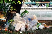 Waste Plastic Heap, Garbage Plastic, Waste Dump, Pile Plastic Bags And Wet Food Waste At The The Tre poster