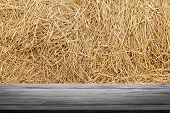Straw Backdrop And Wood Plank, Straw Wall, Straw Background Texture, Wooden Floor Plank Table Empty  poster