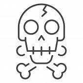 Crack Skull Bone Icon. Outline Crack Skull Bone Icon For Web Design Isolated On White Background poster