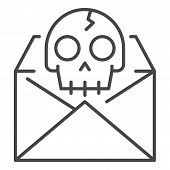 Hacking Email Icon. Outline Hacking Email Icon For Web Design Isolated On White Background poster
