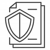 Secured Paper Icon. Outline Secured Paper Icon For Web Design Isolated On White Background poster