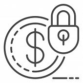 Secured Money Icon. Outline Secured Money Icon For Web Design Isolated On White Background poster