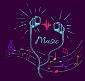 Music Poster With Treble Clef, Notes Set And Headphones Performing Loud Sounds Vector Doodles In Fla poster