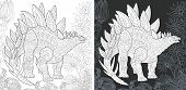 Coloring Page. Dinosaur Collection. Colouring Picture With Stegosaurus Drawn In Zentangle Style. poster