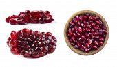 Set Of Pomegranate Seeds. Pomegranate Isolated On White Background. Sweet And Juicy Garnet With Copy poster