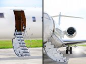 Stairs With Jet Engine On A Private Airplane - Bombardier poster