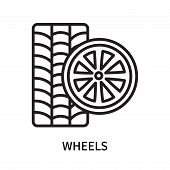 Wheels Icon Isolated On White Background. Wheels Icon Simple Sign. Wheels Icon Trendy And Modern Sym poster