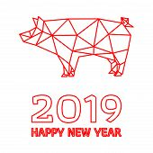 Happy Chinese New Year, Year Of The Pig. Polygonal Pig Design On White Background. All In A Single L poster