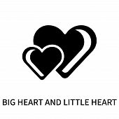 Big Heart And Little Heart Icon Isolated On White Background. Big Heart And Little Heart Icon Simple poster
