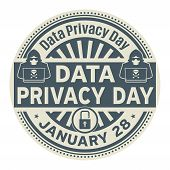 Data Privacy Day, January 28, Rubber Stamp, Vector Illustration poster