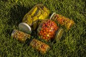 Marinated Food. Assortment Autumn Preserves. Jars Of Pickled Vegetables. Sealing Farm Vegetables In  poster