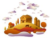 Farm In Scenic Autumn Landscape Of Fields And Trees And Wooden Country Buildings, Clouds In The Sky, poster