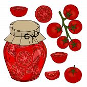 Collection Of Different Objects. Glass Jar With Home Made Tomatoes. Hand Drawn Objects Isolated. Vec poster