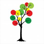 Tree With Circle Full Color Green Leaves. Full Color Tree Icon Isolated On White Background. Tree Ic poster