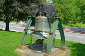 Liberty Bell In Front Of Maine State House. This Building Is The State Capitol Of The State Of Maine poster