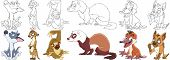 Cartoon Animal Set. Collection Of Wild Predators. Howling Wolf (coyote), Suricate, Sloth, Ferret (po poster