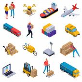 Isometric Colorful Set Of Icons With Delivery Transport Loaders And Couriers At Work Isolated On Whi poster