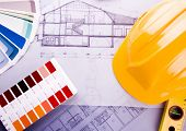 Color samples for selection with house plan on background