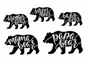 Mama, Papa, Baby, Brother, Sister Bear. Hand Drawn Typography Phrases With Bear Silhouettes. Family  poster