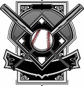 stock photo of softball  - Baseball Bats Baseball and Home Plate or Ornate Field Vector Graphic - JPG