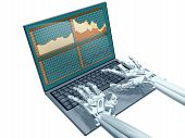 image of cybernetics  - Illustration of a robot trader on a laptop - JPG