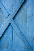 Farm  Blue Painted Door Wooden Background