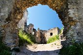 ruins of lietava castle - gothic castle in slovakia
