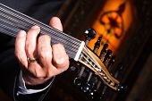 stock photo of musical instrument string  - turkish music instrument taken in a restaurant - JPG
