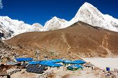 Gorak Shep village and Kala Patthar view point on Everest, Pumo Ri and Nuptse - Nepal