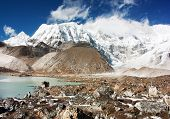 image of cho-cho  - view of cho oyu with lake and cloud - JPG