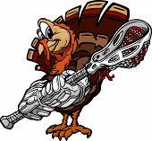 Lacrosse Thanksgiving Holiday Turkey Cartoon Vector Illustration