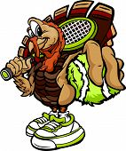Tennis Thanksgiving Holiday Turkey Cartoon Vector Illustration