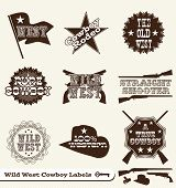 : Vector Cowboy Vintage occidental etiquetas y pegatinas