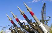 Raketen der Oberfläche zur Luft-Raketen-System richten sich in den Himmel