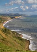 A view of the Dorset coast towards West Bay and Chesil beach