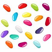 Jelly beans of various colors. Vector illustration.