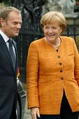 Angela Merkel And Polish Prime Minister Donald Tusk