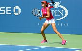 Professional tennis player Daniela Hantuchova practices for US Open