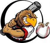 foto of hitter  - Baseball Cartoon Early Bird Batter with Bat and Ball with Worm Vector Illustration - JPG