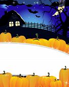 Pile Of Pumpkins And Lonely House