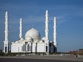 picture of crescent-shaped  - The Hazrat Sultan Mosque in Astana Kazakhstan - JPG